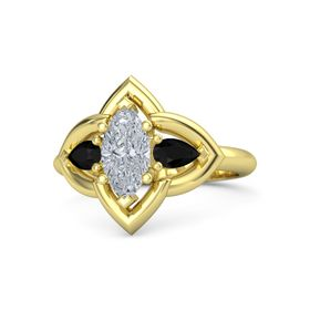 Marquise Diamond 14K Yellow Gold Ring with Black Onyx