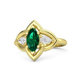 Marquise Emerald 14K Yellow Gold Ring with White Sapphire