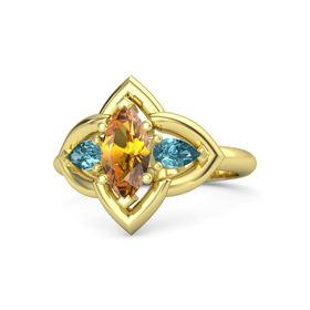 Marquise Citrine 14K Yellow Gold Ring with London Blue Topaz