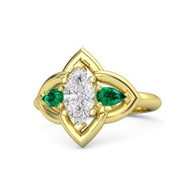 Marquise White Sapphire 14K Yellow Gold Ring with Emerald