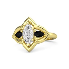 Marquise White Sapphire 14K Yellow Gold Ring with Black Onyx