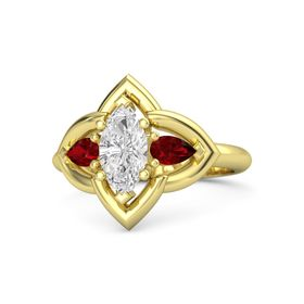 Marquise White Sapphire 14K Yellow Gold Ring with Ruby