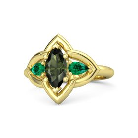 Marquise Green Tourmaline 14K Yellow Gold Ring with Emerald
