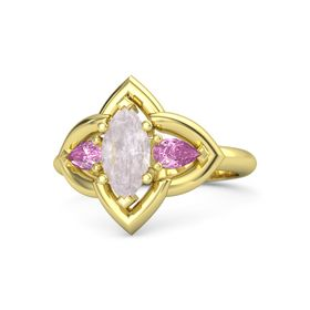 Marquise Rose Quartz 14K Yellow Gold Ring with Pink Sapphire