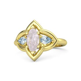 Marquise Rose Quartz 14K Yellow Gold Ring with Aquamarine