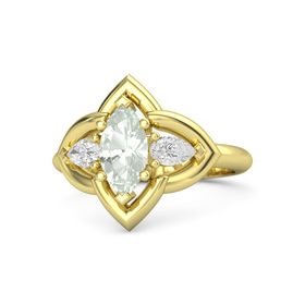Marquise Green Amethyst 14K Yellow Gold Ring with White Sapphire