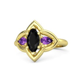 Marquise Black Onyx 14K Yellow Gold Ring with Amethyst