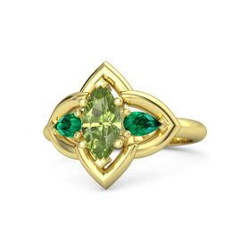 Marquise Peridot 14K Yellow Gold Ring with Emerald