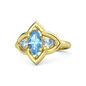 Marquise Blue Topaz 14K Yellow Gold Ring with Aquamarine