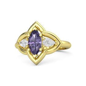 Marquise Iolite 14K Yellow Gold Ring with White Sapphire