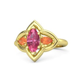 Marquise Pink Tourmaline 14K Yellow Gold Ring with Fire Opal