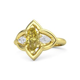 Marquise Yellow Sapphire 14K Yellow Gold Ring with White Sapphire