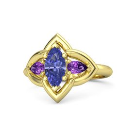 Marquise Tanzanite 14K Yellow Gold Ring with Amethyst