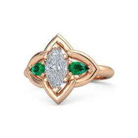 Marquise Diamond 18K Rose Gold Ring with Emerald