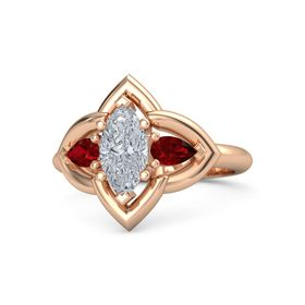 Marquise Diamond 18K Rose Gold Ring with Ruby