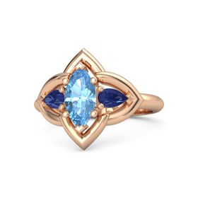 Marquise Blue Topaz 18K Rose Gold Ring with Blue Sapphire