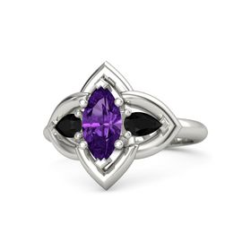 Marquise Amethyst 18K White Gold Ring with Black Onyx