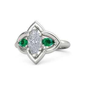 Marquise Diamond 18K White Gold Ring with Emerald