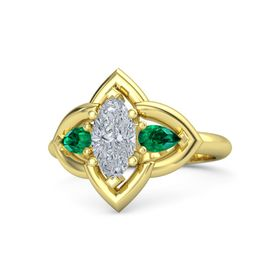 Marquise Diamond 18K Yellow Gold Ring with Emerald