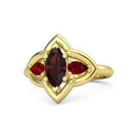 Marquise Red Garnet 18K Yellow Gold Ring with Ruby