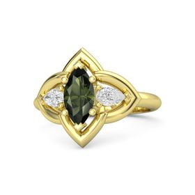 Marquise Green Tourmaline 18K Yellow Gold Ring with White Sapphire