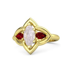 Marquise Rose Quartz 18K Yellow Gold Ring with Ruby