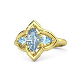 Marquise Aquamarine 18K Yellow Gold Ring with Blue Topaz