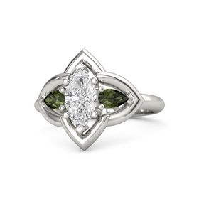 Marquise White Sapphire Palladium Ring with Green Tourmaline