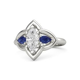Marquise White Sapphire Palladium Ring with Blue Sapphire