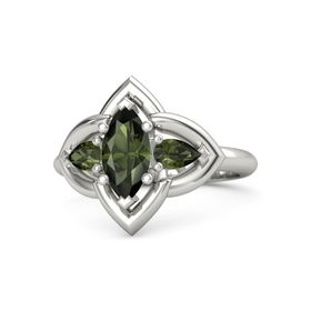 Marquise Green Tourmaline Palladium Ring with Green Tourmaline