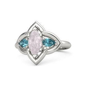Marquise Rose Quartz Palladium Ring with London Blue Topaz