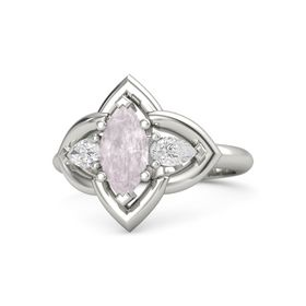 Marquise Rose Quartz Palladium Ring with White Sapphire