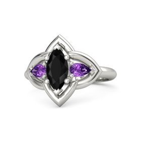 Marquise Black Onyx Palladium Ring with Amethyst