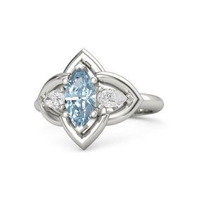 Marquise Aquamarine Palladium Ring with White Sapphire
