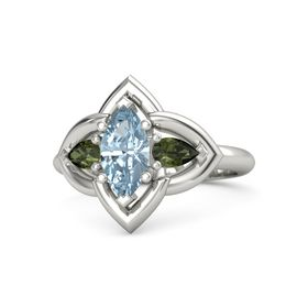 Marquise Aquamarine Palladium Ring with Green Tourmaline