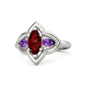 Marquise Ruby Palladium Ring with Amethyst