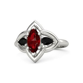 Marquise Ruby Palladium Ring with Black Onyx