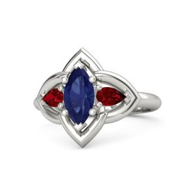 Marquise Blue Sapphire Palladium Ring with Ruby