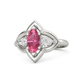 Marquise Pink Tourmaline Palladium Ring with White Sapphire