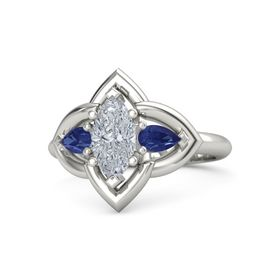 Marquise Diamond Platinum Ring with Blue Sapphire