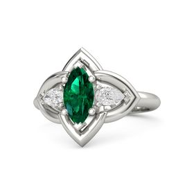Marquise Emerald Platinum Ring with White Sapphire