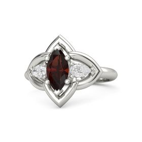 Marquise Red Garnet Platinum Ring with White Sapphire
