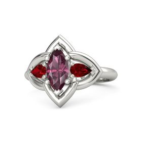 Marquise Rhodolite Garnet Platinum Ring with Ruby