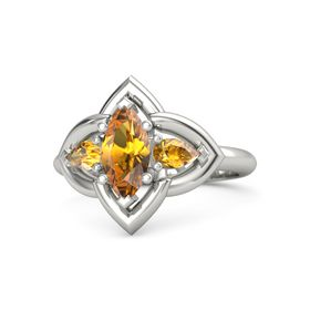 Marquise Citrine Platinum Ring with Citrine