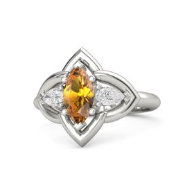 Marquise Citrine Platinum Ring with White Sapphire
