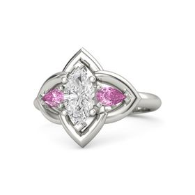 Marquise White Sapphire Platinum Ring with Pink Sapphire