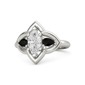 Marquise White Sapphire Platinum Ring with Black Onyx