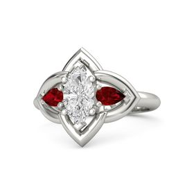 Marquise White Sapphire Platinum Ring with Ruby