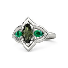 Marquise Green Tourmaline Platinum Ring with Emerald
