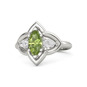 Marquise Peridot Platinum Ring with White Sapphire